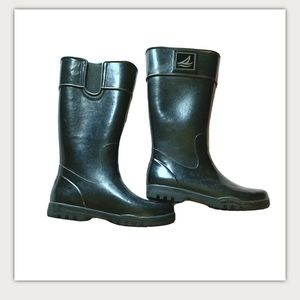 Sperry top sider black rubber rain boots